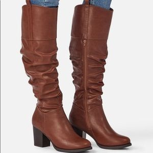 Slouchy Brown Leather Boots